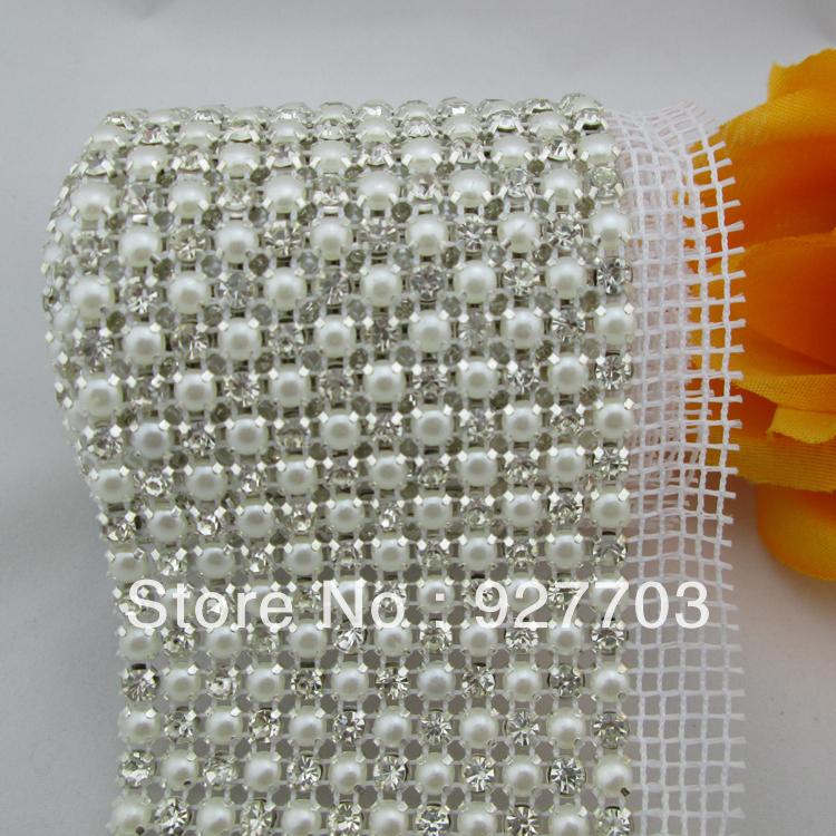 (CM103) 12 Rows 1 Yards Clear Rhinestone Crystal Faux Pearl Mesh Trim Wedding Decoration(China (Mainland))