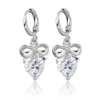 "Women's ""Love Knot"" Style Platinum Plated & 2.5 CT Brilliant Cut Grade AAA Cubic Zircon Diamond Wedding Earring (1200)"