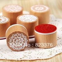 DHL Free Shipping 300pcs New sweet lace series wood round stamp / gift stamp / 6 designs