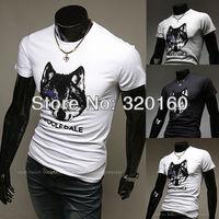 Free shipping men's clothing short-sleeved slim T-shirt, O-neck, Printing wolf's head high-quality cotton shirt M-XXL