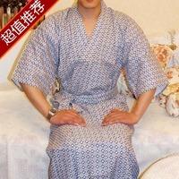 Free Shipping Japanese style men spring and summer kimono bathrobes sleepwear robe double layer Men 100% cotton nightwear