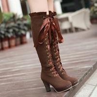 Vintage coarse silks and satins lacing ultra high heels sexy bandage platform martin boots scrub boots long gaotong n506
