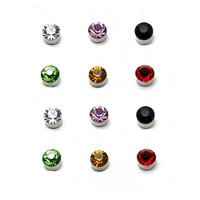 Free Shipping(min order 10$)Multi-colored Rhinestone Magnetic Stud Earring No Pierced Magnet Stud Earring