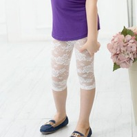 free shipping 2013 summer female child legging lace child legging capris black and white