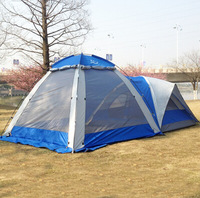 Double Layer Fiberglass Family Camping Tent 3-4 Person 2 Room Waterproof High Quality Tourism Outdoor Camping Supplies