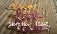 Free shipping(30piece/lot) Gold/Rose Gold Plated Fashion Love Connector charm For Bracelet PJ096