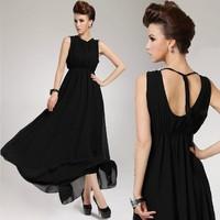 Women's Love Chiffon Dress 2013 Summer Women Elegant Silk Sleeveless Off Back One-Piece Long Dress Black Plus Size Free Shipping