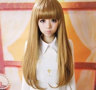 女の子のかつらストレートヘアウィッグ修理ふわふわ梨少し丸まった長いストレート髪送料無料