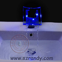 LD8006-003B Free Shipping!Brass Thicken Chrome rectangle LED glass bathroom Basin Waterfall faucet.1pcs/lot
