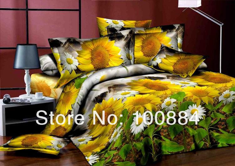 Desconto 3D pintura a óleo, tampa de cama pintura a óleo 3d, girassol amarelo capa consolador duvet(China (Mainland))