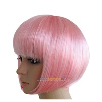 Fashion Bobo Short Straight Pink Party Dress Hair Wig Cosplay