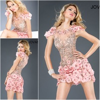 Free shipping 2013 New Sexy See through Appliques flowers Short sleeves Cocktail Dresses party dress Lovely Pink Jov 157