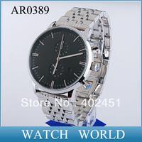 HK Free Shipping AR0389 Classic Men's Luxury Stainless Steel Date Display Wristwatch AR 0389 watch+ Original box