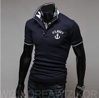 2013 Free Shipping New style Spring and summer men's Rib  shirt lapel POLO shirt polo Slim Korean men fashon  shirts XXL