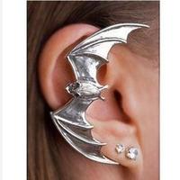 New Design Punk Exaggerated Big Plated Metal Animal Bat Ear Cuff Ear Clip For Women 24pcs/lot 0528144