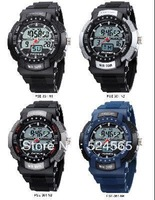 Free Shipping HighQuality PASNEW 50M Water-proof Dual Time Boys Men Sport Watch 905086-P-361-N1