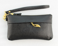 2013 hot sale ,1PCS Golden Leaf Black Leather wristlet bag purse wallet free shipping