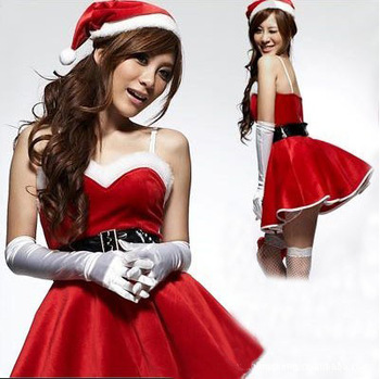 Free Shipping Loaded Performance Wear Christmas Sexy Cosplay Uniform Christmas Lady Clothing(Dress+Hat+Belt+Gloves)