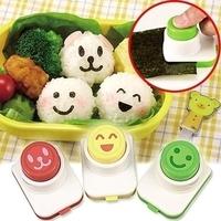 2014 New arrive hot Porphyrilic smiley style bento sushi tools rice cake mould diy seaweed clip embossed device 3 pcs wholesale