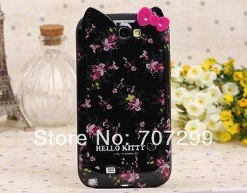 Free Shipping 2013 New Lovely Cute Leopard Flower Bowknot Hello Kitty Soft TPU Gel Case Cover for Samsung Galaxy Note 2 II N7100