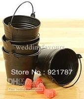 50pcs/lot!Free Shipping! Black Mini Pails wedding favors,Baby favors,mini bucket,candy sweet pails