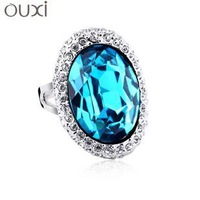 Trendy rhodium plated ring made with Swarovski Elements 40036 free shipping