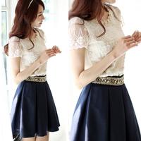 2013 women's chiffon shirt all-match lace chiffon shirt short-sleeve chiffon tops camisas