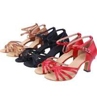 0283 Womens Dance Ballroom Latin PU Satain High Heels Pumps Shoes