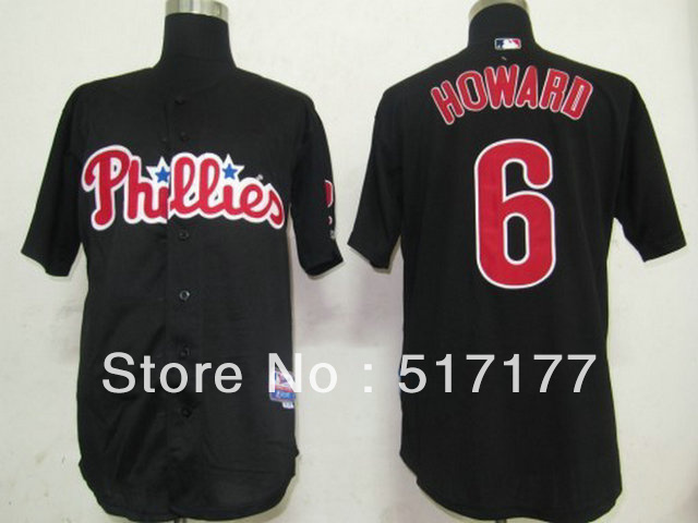 Free Shipping Cheap Wholesale Baseball Jerseys # 6 Howard Black Sports Mens Baseball Jerseys Embroidery logos Size:M-3XL(China (Mainland))