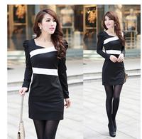 Wholesale Free Shipping Spring fashion women's 2013 elegant puff sleeve square collar slim women's sexy hip slim one-piece dress