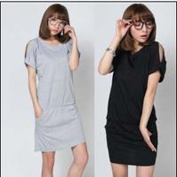 2013 trend women's fashion sexy strapless slim hip loose slim waist cotton short-sleeve women's one-piece dress