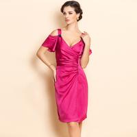 Ts 2012 autumn and winter fashion women's strapless ruffle sexy V-neck beading slim waist slim one-piece dress