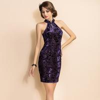 Wholesale Free Shipping Ts 2013 spring fashion vintage women's sexy cheongsam type fashion slim waist one-piece dress
