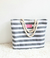 Zakka style navy grey brief stripe beach hemp rope tote bag big handbags  shoulder bag