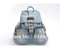 Best Selling!!new water washing women denim backpack high quality cowboy travel bag all-match handbag Free Shipping