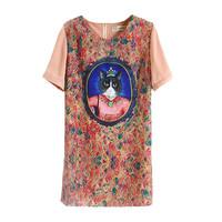 13 elegant gem cat royal vintage chiffon one-piece dress female