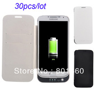 Free Shipping 3800mAh Mobile Power Backup Battery PU Protective Case with Stand&Card Holder for Samsung Galaxy S IV i9500 30pcs