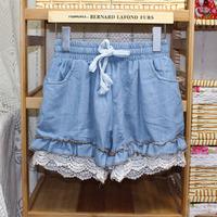 2013 hook laciness pleated elastic waist denim shorts female