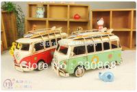 Metal craft beach theme props Gift metal craft iron model vintage decoration vw Large skateboard bus