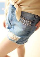 Vintage female water wash hole metal rivet shorts all-match personality fashionable denim shorts