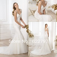 Free Shipping Custom-made100% Guarantee Wholesale LB-109 Beading Appliques V-neck Flowers Tulle Mermaid Wedding Dresses