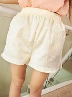 Summer women's 2013 fashion vintage leather elastic strap embossed noble elegant high waist shorts