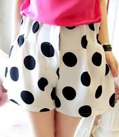 2013 summer vintage big all-match polka dot elastic high waist chiffon shorts female shorts