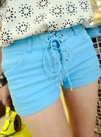 2013 summer all-match personality lacing slim elastic slim hip shorts female shorts