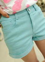 2013 summer all-match candy color zipper decoration one button slim shorts female shorts