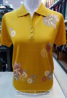 Shuanglu women's tencel short-sleeve turn-down collar T-shirt mulberry silk quinquagenarian mother clothing 13029