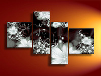 Free shipping hand-painted Huge Wall Art Modern Fresh Color Symphony Of Flowers abstract oil painting canvas4pcs/set