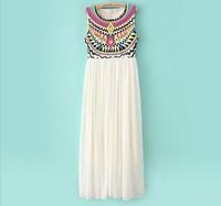 2013 summer new totem printed frocks pleated summer dress round collar sleeveless