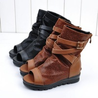 2013 spring child girls shoes spring fashion open toe boots knee-high medium cut leather single shoes