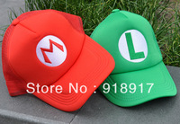 Free Shipping Super Mario Bros Baseball Trucker Cap Anime Cosplay hat Costume caps Mario+Luigi 2 pcs/ Set